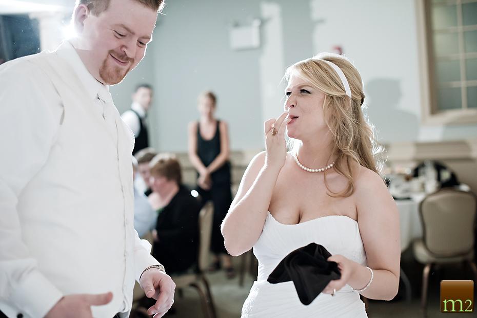 Bride and groom cake cutting Philadelphia Wedding Photography