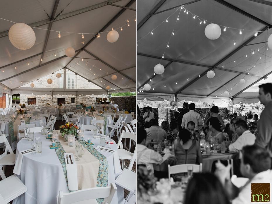 hanging lanterns in reception venue