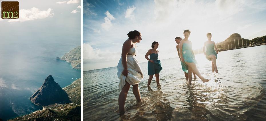 Bridesmaids-kicking-in-water-wedding