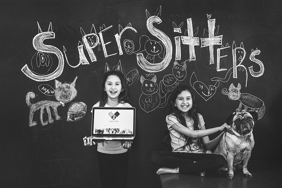 Two 7 year olds start a pet setting business called Super Sitters